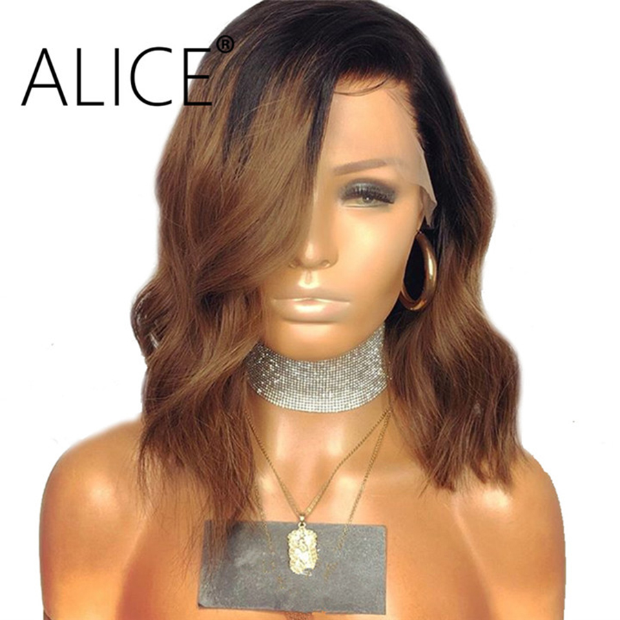 Human Hair Lace Wigs Lace Wigs Alice Body Wave Ombre Color Front Lace Wig Remy Hair Brazilian Human Hair Wigs With Baby Hair Middle Part Black Roots 13x4 Fashionable Patterns
