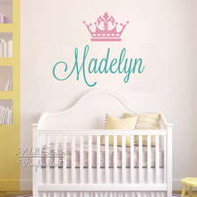 цена на Crown Name Wall Sticker Baby Girls Custom Name Wall Decal Crown Girls Kids Room Cut Vinyl Sticker Personalized Name Decors C81