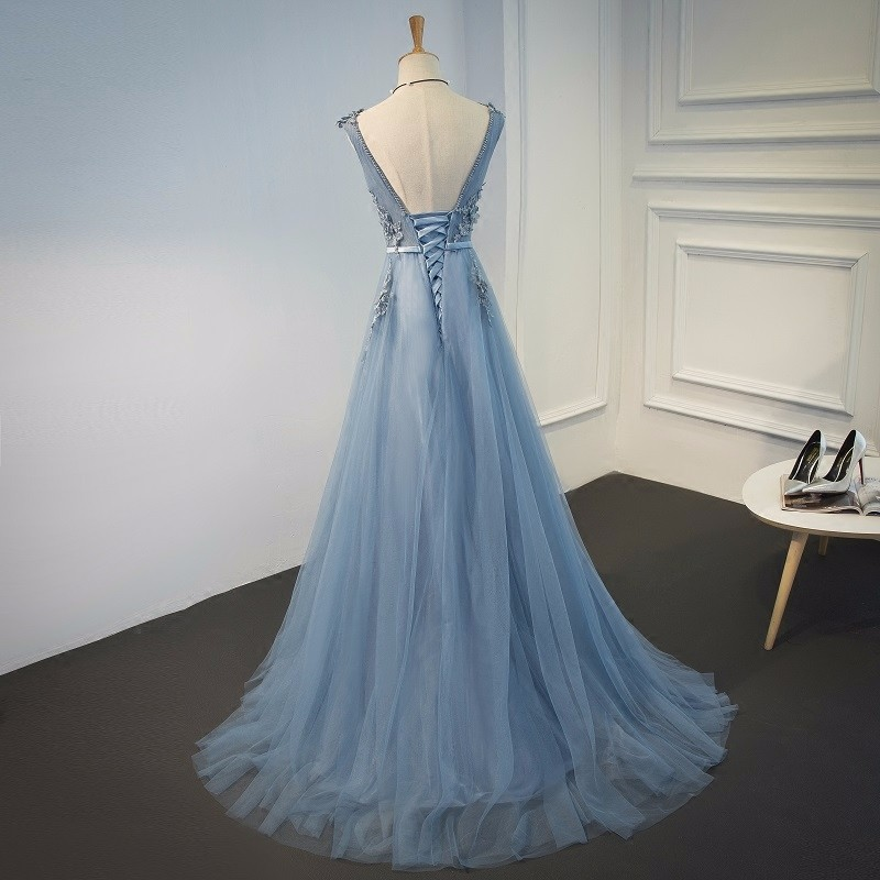 Elie Saab Blue Evening Dresses 2018 Plus Size Tulle Appliques Long Formal Dresses Gowns V Neck Lace Up Sleeveless Robe De Soiree 11