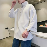 New Pattern 2018 Spring Japanese Stand Lead Casual Men T Shirt Youth Seven Part Sleeve Zipper