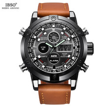 Best Price Luxury Men Watches Sport Dual Display Watch Male Leather Band Digital Quartz Watch Chronograph Watch Mens Military(China)