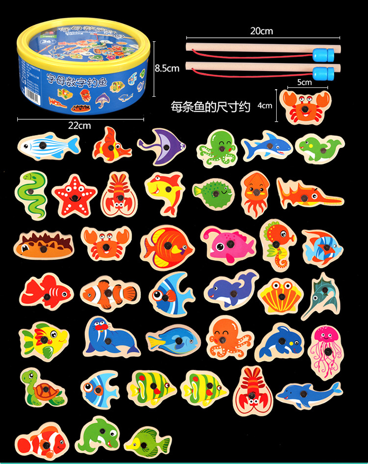 New Arrive 40piece Kids Classic Magnetic Fishing Game Marine Fish Building Blocks Wooden Toys Baby Wood Fish Game Education Toy