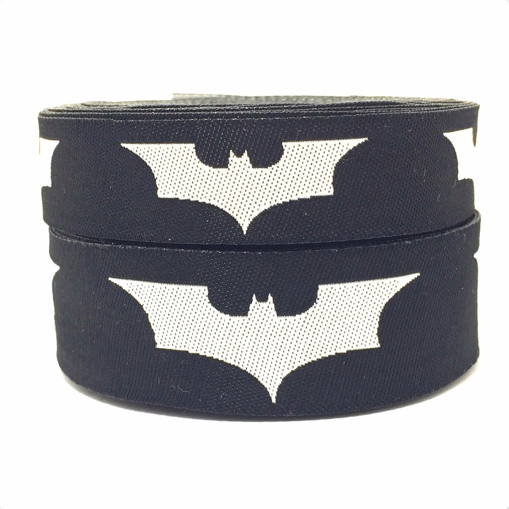 2015 NEW exclusive wholesale 5/8+7/8(16+22mm 20y/lots) Polyester Evolution version batman Woven Jacquard Ribbon For Dog Collar