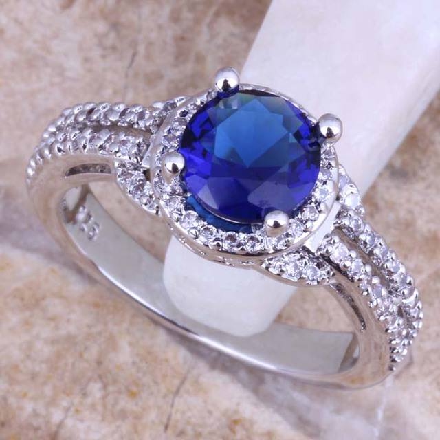 Terrific Blue Cubic Zirconia White CZ 925 Sterling Silver Ring For Women Size 5