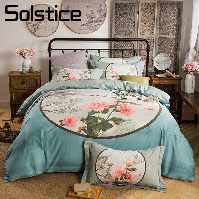 Solstice home textile blue white flower bedding sets 100cotton high solstice home textile blue white flower bedding sets 100cotton high end wedding bedlinen mightylinksfo
