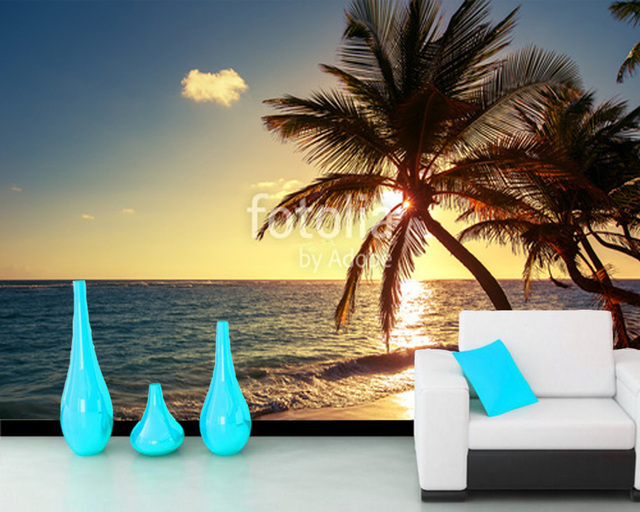 Custom Beach Wallpaper Murals Palm Tree Natural Landscape Mural For Living Room Bedroom Sofa Background