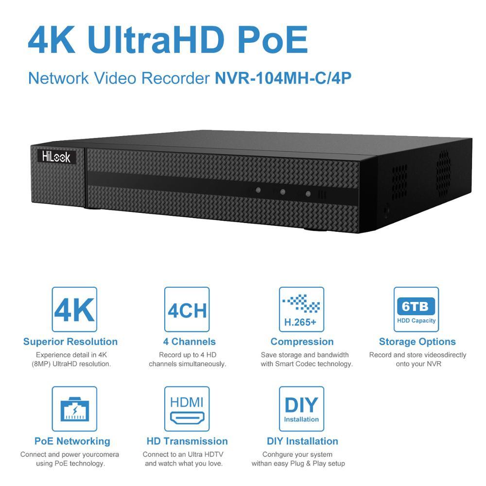HiLook CCTV System Onvif 4CH POE NVR-104MH-C/4 P Hikvision Plug & Play 4 Kanal 4K PoE NVR 1 SATA VCA Erkennung