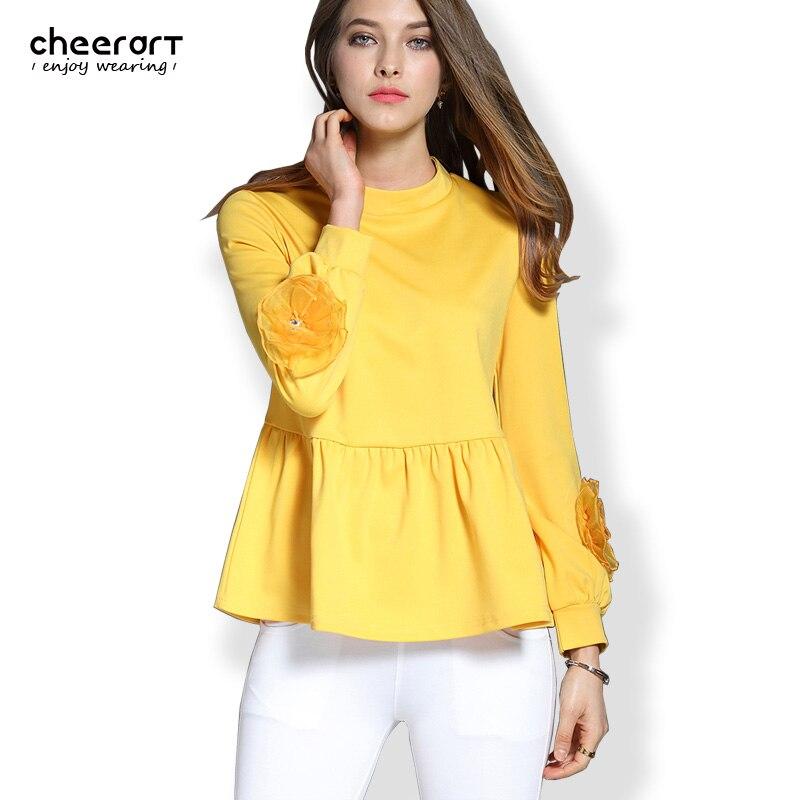 Buy 2017 Women Long Sleeve Ruffle Blouse