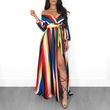 цены Women Colorful Rainbow Striped Dress 3/4 Sleeve Off Shoulder Party Dress Hole Side Slit Maxi Dresses