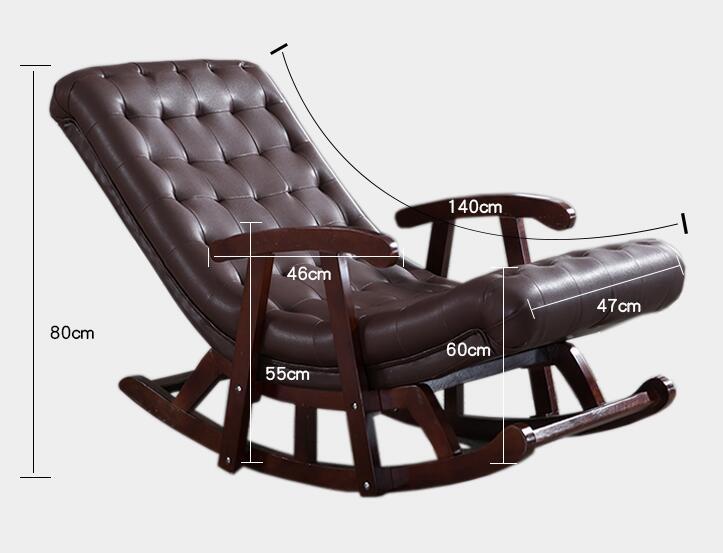 Moderne Comfortabele Fauteuil.Moderne Lederen Houten Schommelstoel Lounge Stoel Fauteuil