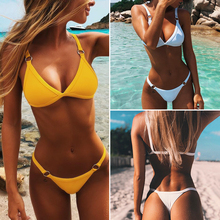 2019 New Mini Triangle Bikini Sexy Brazilian Biquinis Swimwear Women Micro Thong Bikini Set Orange Black Yellow White swim suits