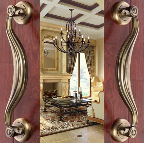 2 pcs free shipping Door shake handshandle european-style villa door shake handshandle archaize wooden door handle  KD-8326