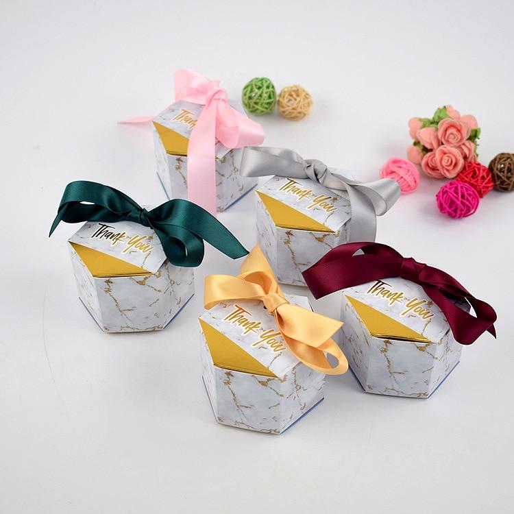 Nouvelles boîtes à bonbons de style marbré créatif faveurs de mariage fournitures de fête bébé douche merci boîte-cadeau W8056