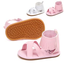 New Design Tassel Solid PU Fringe Baby Sandals Hook & Loop Rubber Sole Leather Girl Shoes Summer Beach Wholesale