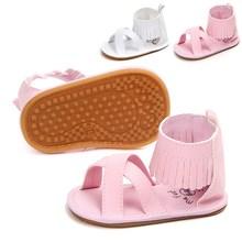 цены на New Design Tassel Solid PU Fringe Baby Sandals Hook & Loop Rubber Sole Leather Baby Girl Shoes Summer Beach Sandals Wholesale  в интернет-магазинах
