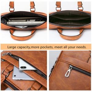 Image 5 - JEEP buuluo znane marki mężczyźni aktówka torba biuro biznes na ramię ze skóry Crossdody torba podróżna 14Laptop iPad A4 pliki torebki
