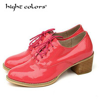 Flats British Style Oxford Shoes Women Spring Leather Oxfords Flat Heel Casual Shoes Lace Up Womens Shoes Retro Brogues