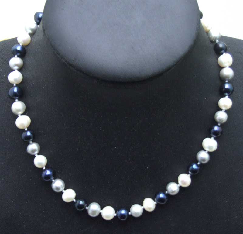 SALE 7-8mm White and black and gray round Natural Freshwater PEARL 17 Necklace -5900 Wholesale/retail Free ship