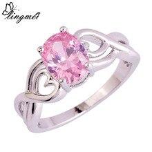 Lingmei стильное милое свадебное кольцо с овальным вырезом розового цвета радуги белого цвета Cubiz циркония серебряного цвета Размер 6 7 8 9 10 для женщин подарок