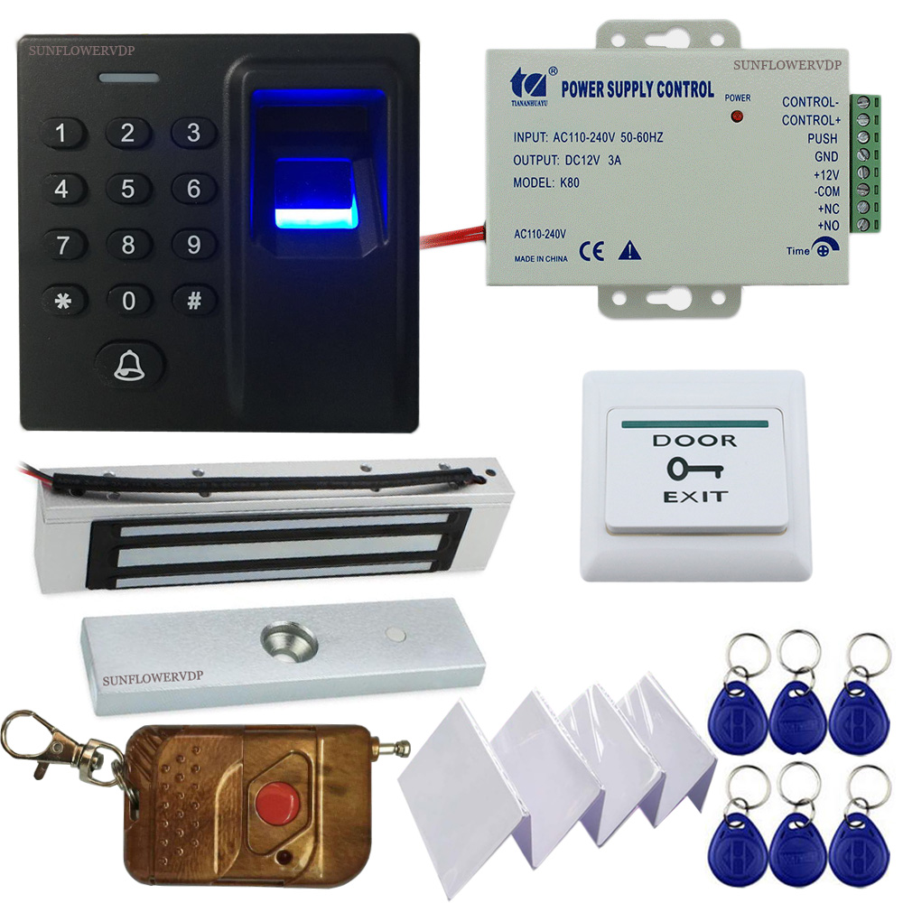 Fingerprint Keypad Rfid Gate Control Access Control With Wireless Remote Control For The Gate + Magnetic Door lock+ Power Supply lpsecurity gate door electric magnetic lock drop bolt strike access control system power supply with box cabinet 12v 5a