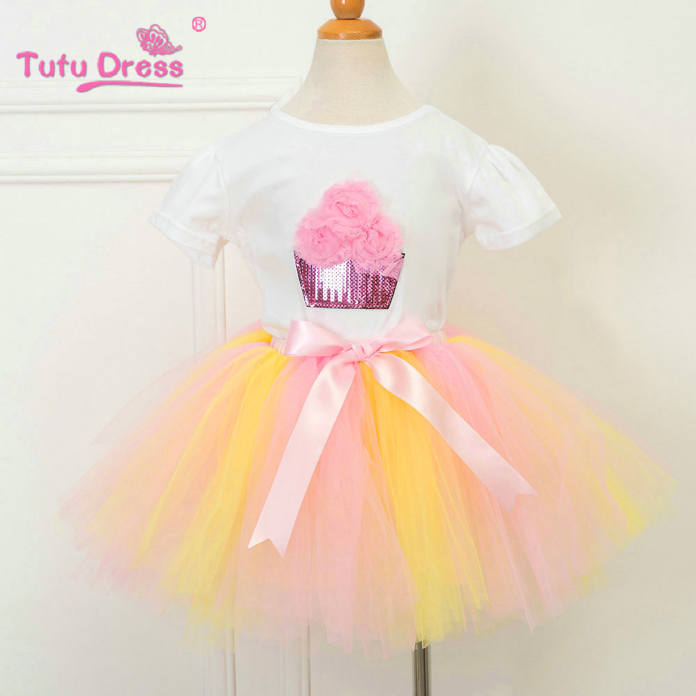 Baby Girl Clothes Brand New Born Baby 1 Year Birthday Outfits Infant Clothing Baby Sets T-shirt+Tutu Skirt Baby Sets