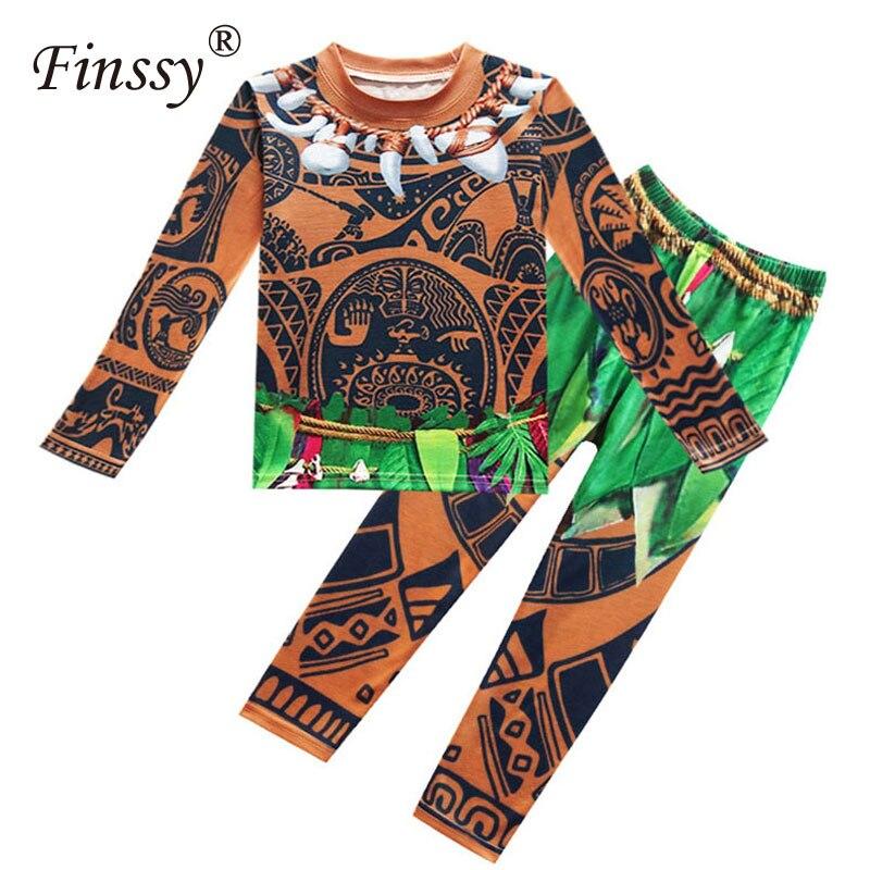 Moana Maui Cosplay Kostüm für Jungen Pyjamas Casual T-shirts Tops Tees und Hosen Karneval Halloween-kostüm für Kinder Kleidung Set