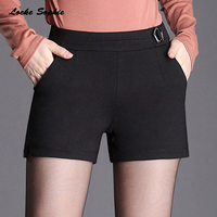 1pcs Womens Plus size casual skirts Shorts 2019 Spring Fashion cotton blend Splicing High waist shorts ladies Skinny Short pants