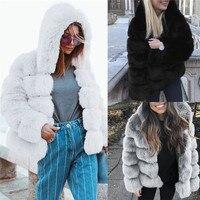 2018 New Fashion Women Mink Coats Winter Hooded New Faux Fur Jacket Warm Thick Outerwear Jacket