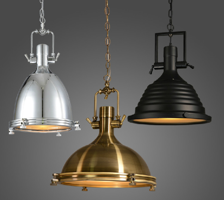 100-240v Large Heavy Lustres home Vintage Industrial Metal Lamp loft vintage black chrome pendant light big retro Kitchen lamp