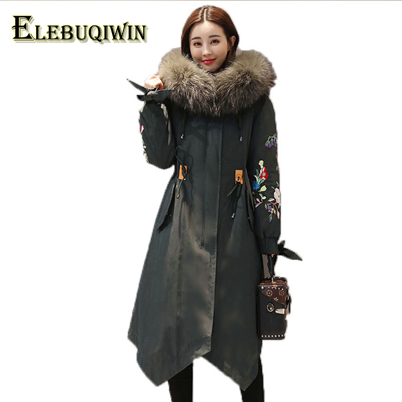 Womens Down Cotton Jackets New Plus size 6XL Parkas Thicker Hooded Big fur collar 2018 Winter High quality Wadded Coat Women 118 plus size casual women long cotton jackets 2017 autumn winter new hooded thicker coat full sleeve loose warm cotton coat qh0446