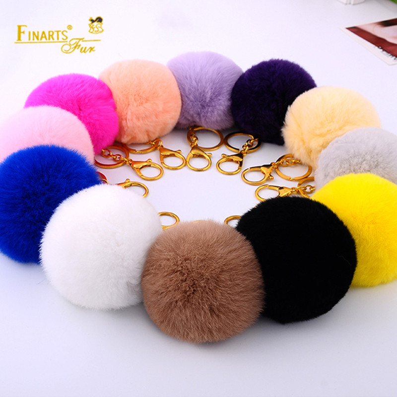 DIY 9cm Flully Pompons 100% Real Rex Rabbit Fur PomPom Solid color Fur Balls Genuine Fur ...