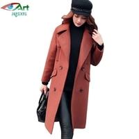 JQNZHNL 2017 New Winter Coat Women Double Breasted Slim Woolen Coats Outerwear Medium Long Casual Thicken