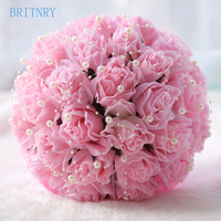 BRITNRY 2018 Real Images White Pink Wedding Flowers Bridal Bouquets Rose with Pearls Wedding Bouquet Beautiful Flower Bouquet