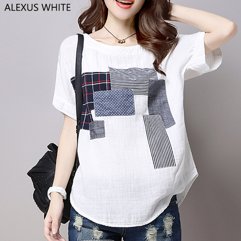 Applique Cotton Linen T-Shirts for Woman 2018 Summer Casual Loose T Shirt Women's Short Sleeve Tops Female White Tees Shirts