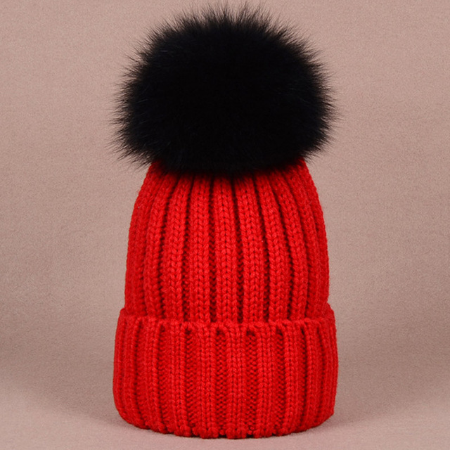 Stylish warm beanies winter hat with quality large size black raccoon dog fur ball knitted women badger fur ball hat for lady