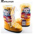 Rbowlover 2017 mulheres do inverno do natal cabra botas mais novo de venda quente da moda botas de neve não-deslizamento lace-up ski botas de tamanho grande