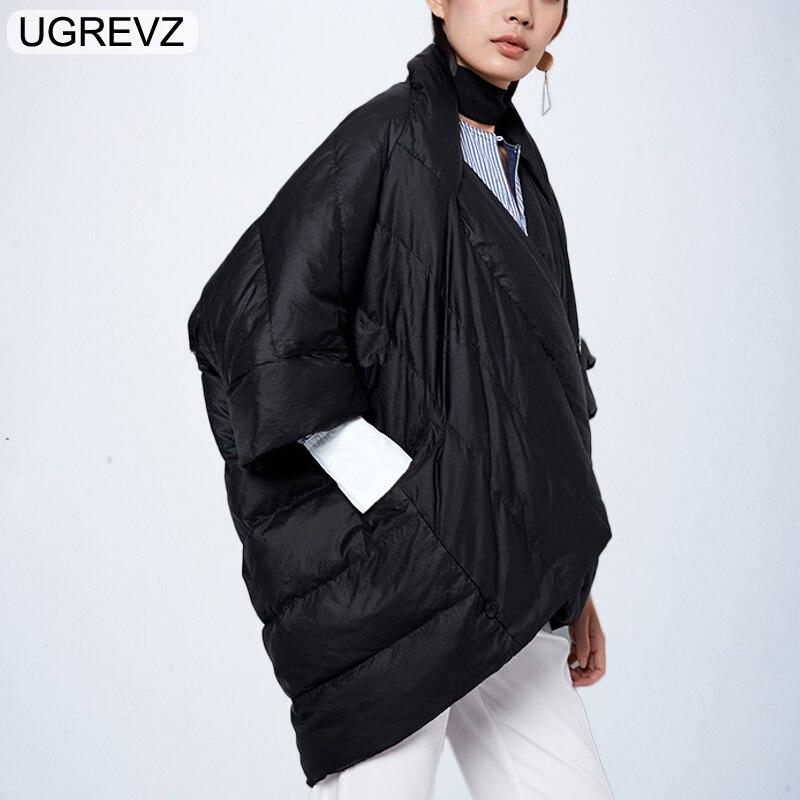 Winter Jacket Women Loose   Parka   Fashion Batwing Sleeve Female Down Cotton Coat 2018 New Overcoat Black White Autumn Short Jacket