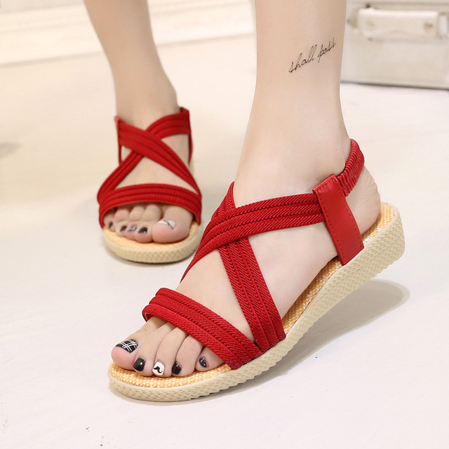 108bd0ec82332 Women Summer Sandals Bohemia Gladiator Outdoor Beach Shoes Cross Band X  strap Low Heels Comfy Wedges Black Red Navy Beige 6O0112-in Low Heels from  Shoes on ...