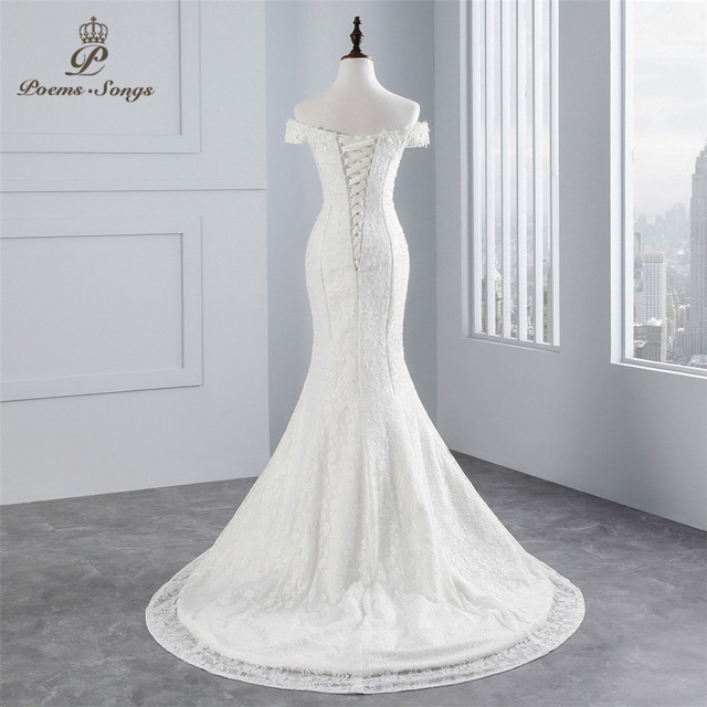PoemsSongs real photo 2019 new style boat neck beautiful lace wedding dress for wedding Vestido de noiva Mermaid wedding dress 3