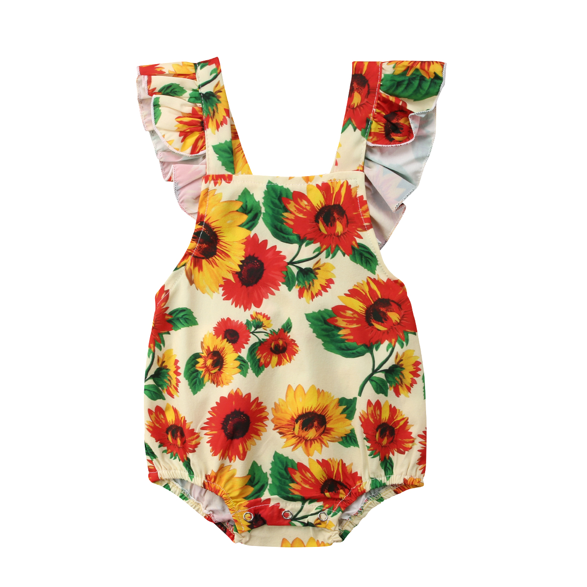 Summer Newborn Baby Girl Floral Romper Backless Clothes Sunsuit Outfits 0-24M