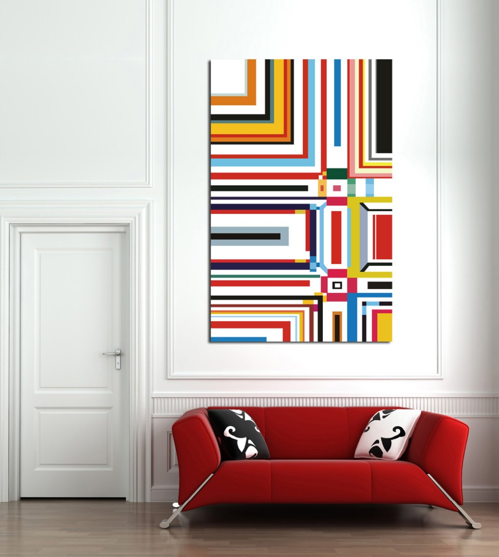 Colorful Geometry Lines Canvas Painting Unframed HD Print Picture ...