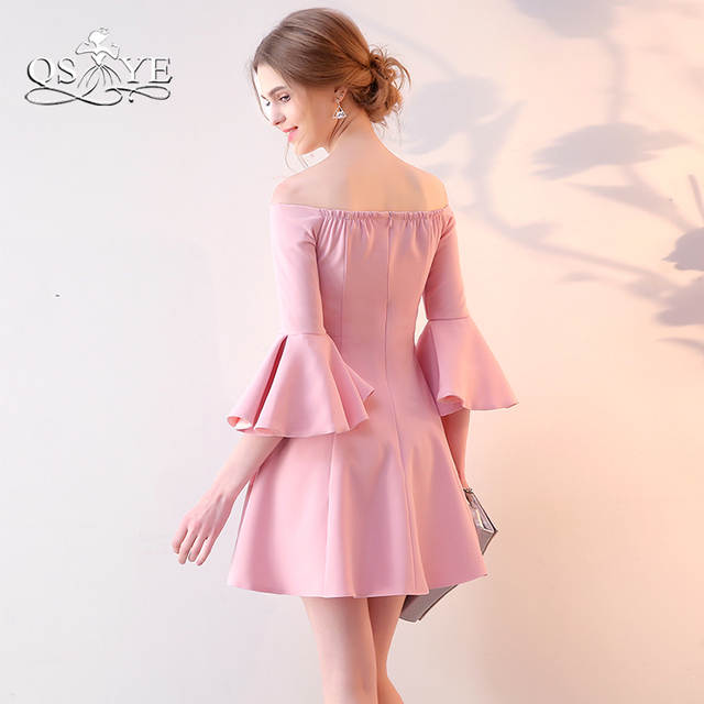 7c4f7a08989 placeholder Blush Pink Short Prom Dresses 2018 New Arrival Off Shoulder  Sweetheart Stretch Satin Formal Evening Party