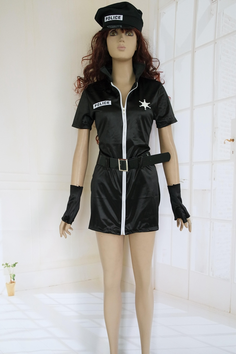 New Design Short Sleeved Zip Front <font><b>Sexy</b></font> <font><b>Cop</b></font> Costume Carnival Costume 3S1038 <font><b>Sexy</b></font> Female Police Uniform For Women image