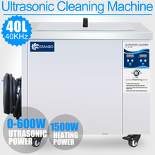 40L Ultrasonic Cleaner SUS Bath 0-600W Adjustment 40KHZ 0-99MINS Timer Industrial Remove Oil Rust Stubborn Stains Car Engines