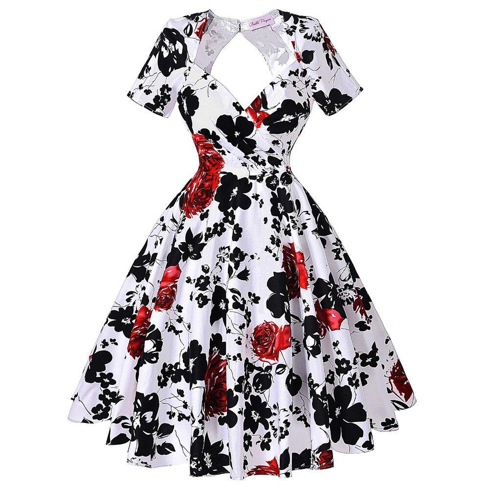 Summer Dresses Women Big Size Floral Print Vintage Dress 50s 60s Audrey Hepburn Vestido Casual Cotton Tunic Women Dress Sarafan