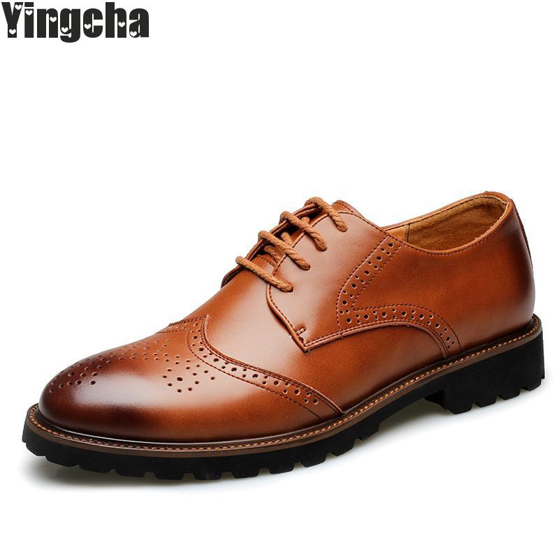 Hot Sale Brown Black Genuine Leather Mens Lace Up Formal Oxford Brogue Man Office Party Dress Wedding Shoes farvarwo brogue shoes mens dress genuine leather oxford black