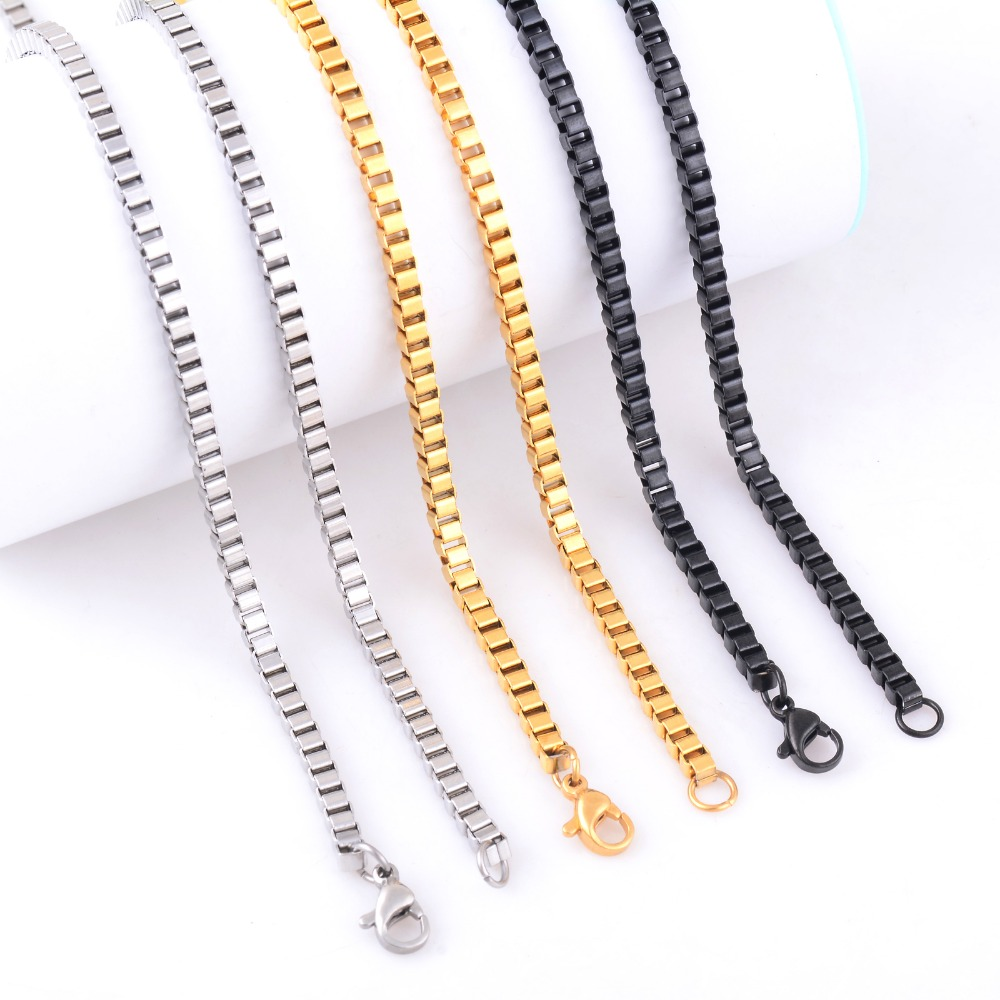 3mm Stainless Steel Box Chain Necklace High Quality Link Men Kalung Wanita Silver Dolphin 316l 004 Necklaces Gold Black Color In From Jewelry Accessories On