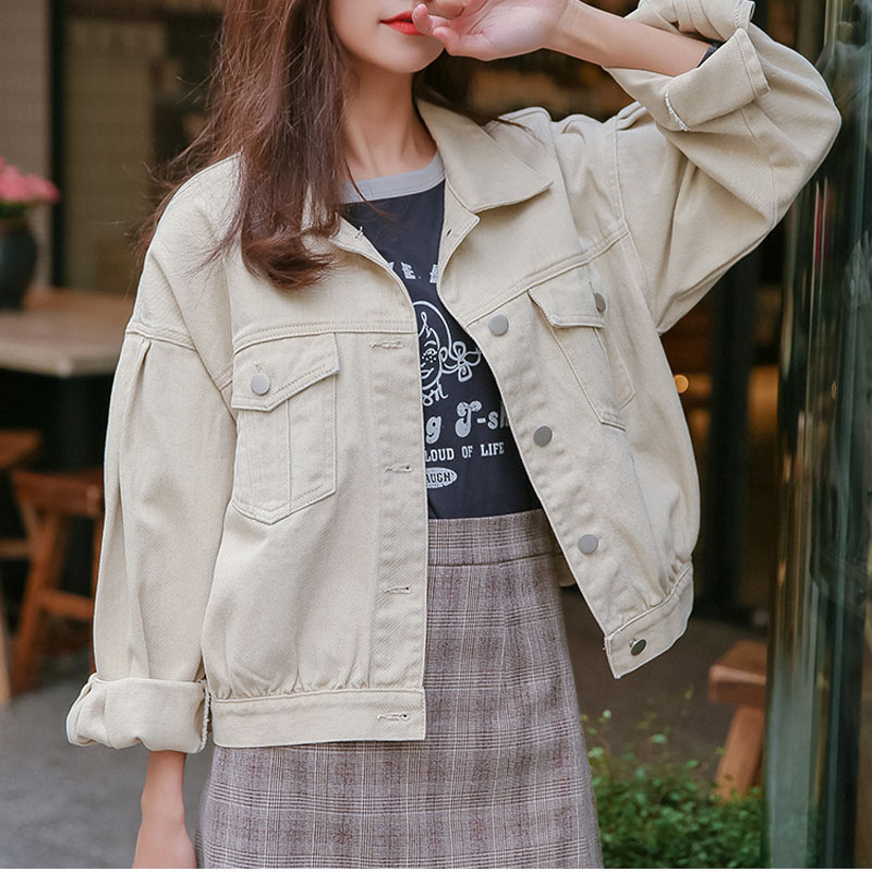 Women's Spring And Autumn Jacket Bf Denim Short Coats Long Sleeves Thin Harajuku Loose Wild Women's Short Coats
