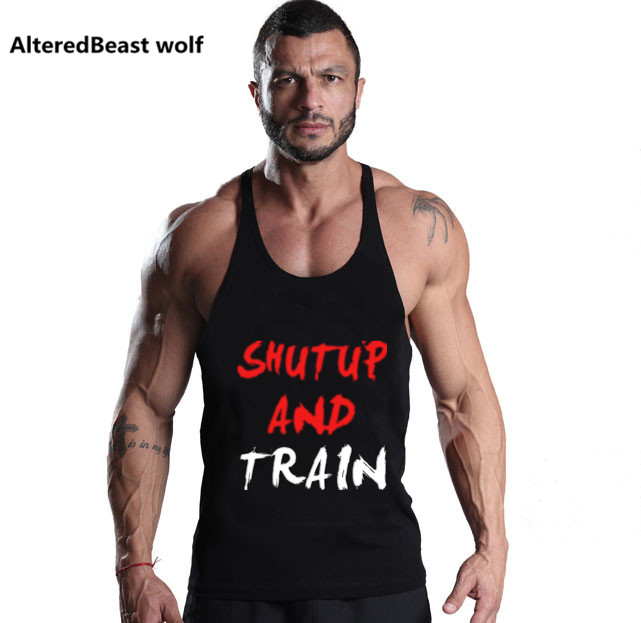Bodybuilding   Tank     Tops   men Letter Print Workout Stringer Sleeveless Shirt Fitness   Tank     Top   Men Gyms Cotton Vest stringer   tops