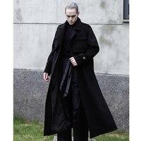 Новые зимние мужские Длинные свободные кашемировое пальто с лацканами и раздвоенный черный пользовательские шерстяное пальто. S 6XL!